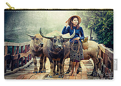 Beauty And The Water Buffalo Carry-all Pouch by Ian Gledhill