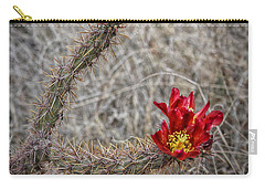 Carry-all Pouch featuring the photograph Cholla's In The Desert by Elaine Malott
