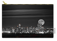 Beaver Moonrise In B And W Carry-all Pouch by Kristal Kraft