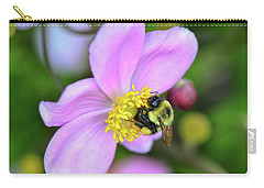 Carry-all Pouch featuring the photograph Bee And Japanese Anemone by Kerri Farley