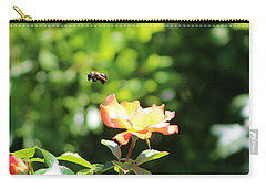 Bee Flying From Peach Petal Rose Carry-all Pouch