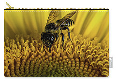 Carry-all Pouch featuring the photograph Bee In A Sunflower by Paul Freidlund