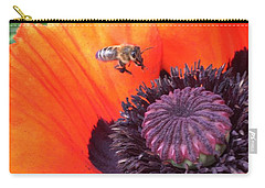 Bee Is Visiting A Poppy Carry-all Pouch