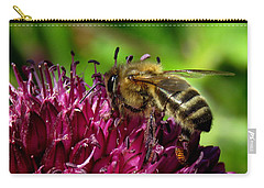 Bee On A Dark Pink Flower Carry-all Pouch by John Topman