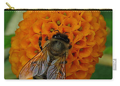 Bee On An Orange Ball Buddleia Carry-all Pouch by John Topman