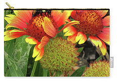 Bee On Colorful Flowers Carry-all Pouch by Mikki Cucuzzo