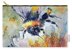 Bee On Flower Carry-all Pouch by Kovacs Anna Brigitta