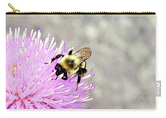 Carry-all Pouch featuring the photograph Bee On Pink Bull Thistle by Meta Gatschenberger