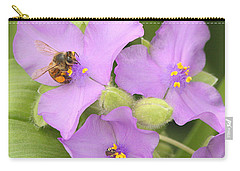 Carry-all Pouch featuring the photograph Bee On Purple Spiderwort by Sheila Brown