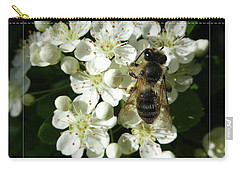 Carry-all Pouch featuring the photograph Bee On White Flowers 2 by Jean Bernard Roussilhe