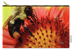 Bee Red Flower Carry-all Pouch