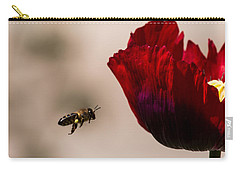 Bee Right Profile Flying To Red Flower Carry-all Pouch