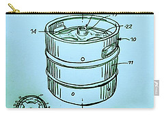 Beer Keg 1994 Patent - Blue Carry-all Pouch by Scott D Van Osdol