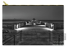 Carry-all Pouch featuring the photograph Before Dawn Folly Beach Pier Charleston Sc Art by Reid Callaway