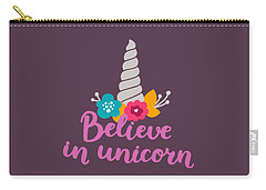 Believe In Unicorn Carry-all Pouch by Edward Fielding