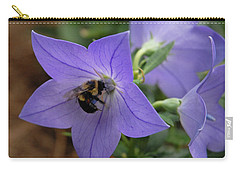 Carry-all Pouch featuring the photograph Bellflower And Bee  by Marie Hicks