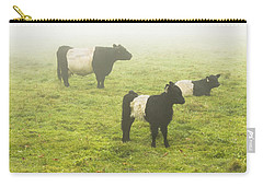Belted Galloway Cows Grazing  In Foggy Farm Field Maine Carry-all Pouch by Keith Webber Jr