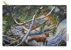Carry-all Pouch featuring the painting Beneath The Cedars by Sandra Strohschein