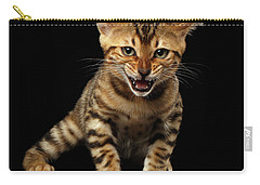 Bengal Kitty Stands And Hissing On Black Carry-all Pouch by Sergey Taran