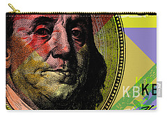 Carry-all Pouch featuring the digital art Benjamin Franklin - $100 Bill by Jean luc Comperat