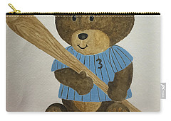 Carry-all Pouch featuring the painting Benny Bear Baseball by Tamir Barkan