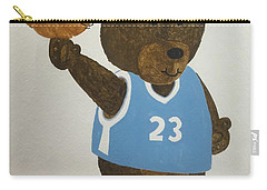Carry-all Pouch featuring the painting Benny Bear Basketball  by Tamir Barkan