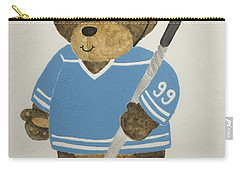 Carry-all Pouch featuring the painting Benny Bear Hockey by Tamir Barkan