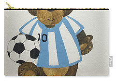 Carry-all Pouch featuring the painting Benny Bear Soccer by Tamir Barkan