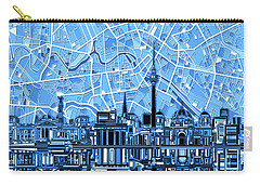 Berlin City Skyline Abstract Blue Carry-all Pouch by Bekim Art