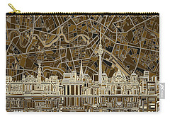 Berlin City Skyline Abstract Brown Carry-all Pouch by Bekim Art