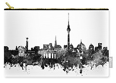 Berlin City Skyline Black And White Carry-all Pouch by Bekim Art