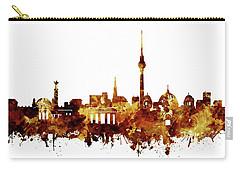 Berlin City Skyline Brown Carry-all Pouch by Bekim Art