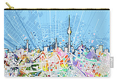 Berlin City Skyline Map Carry-all Pouch by Bekim Art