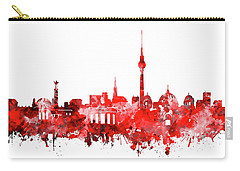 Berlin City Skyline Red Carry-all Pouch by Bekim Art