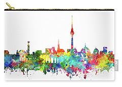 Berlin City Skyline Watercolor Carry-all Pouch by Bekim Art
