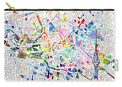 Berlin Map White Carry-all Pouch by Bekim Art