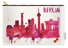 Berlin Skyline Watercolor Poster - Cityscape Painting Artwork Carry-all Pouch