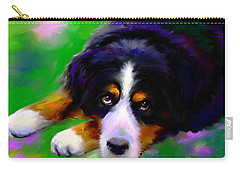 Bernese Mountain Dog Portrait Print Carry-all Pouch