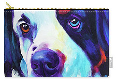 Bernese Mountain Dog - Zeke In Blue Carry-all Pouch