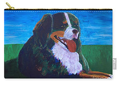 Carry-all Pouch featuring the painting Bernese Mtn Dog Resting On The Grass by Donald J Ryker III