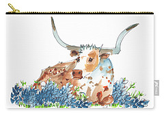 Bessie In The Bluebonnets Watercolor Painting By Kmcelwaine Carry-all Pouch