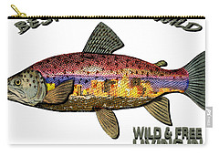 Carry-all Pouch featuring the digital art Fishing - Best Caught Wild - On Light No Hat by Elaine Ossipov