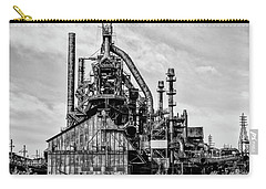 Bethlehem Pa Steel Plant  Side View In Black And White Carry-all Pouch by Bill Cannon