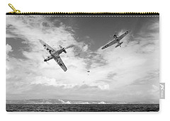 Carry-all Pouch featuring the photograph Bf109 Down In The Channel Bw Version by Gary Eason