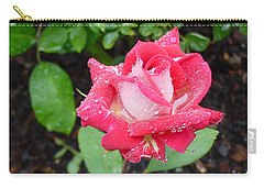 Bi-colored Rose In Rain Carry-all Pouch