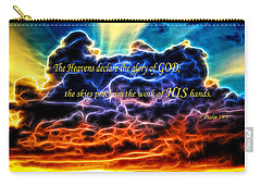 Carry-all Pouch featuring the photograph Biblical Electrified Cumulus Clouds Skyscape - Psalm 19 1 by Shelley Neff