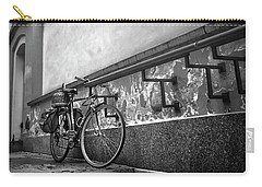 Bicycle In Warsaw Poland In Black And White  Carry-all Pouch