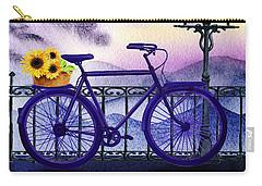 Carry-all Pouch featuring the painting Blue Bicycle And Sunflowers By Irina Sztukowski  by Irina Sztukowski