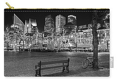 Carry-all Pouch featuring the photograph Bicycle On The Plein At Night - The Hague  by Barry O Carroll