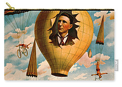 Carry-all Pouch featuring the photograph Bicycle Parachute Act 1896 by Padre Art